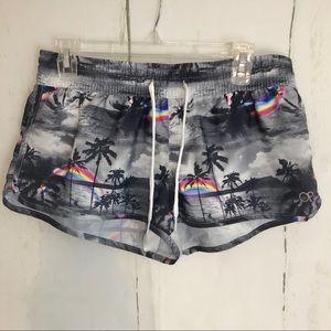 Op shorts Hawaiian print with rainbow